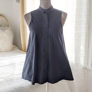Everleigh - Navy trapeze sleeveless cotton shirt